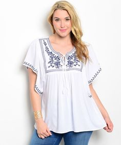 Bellezza White Embroidery Batwing Sleeves V-Neck Babydoll Top Jr Plus Size XL-3X #Bellezza #Blouse #Career