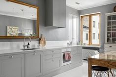 Use a gold mirror (to help integrate brass knobs or pulls with grey cabinets) Kitchen Hoods, Grey Cabinets, City Living, Scandinavian Style, Double Vanity, Interior Inspiration, Interior Design, Bathroom, House