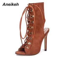 6a2f494feb Aneikeh Women Sandals 2018 New Cross tied Peep Toe Lace Up Thin Heel  Slingback High Heel Women Sandalias Sapatos -in High Heels from Shoes on  Aliexpress.com ...