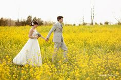 Walking to the alter through the fields of wildflowers...
