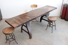 Vintage Industrial 8' Dining/ Farm/ Console Table/ Bar w/ Antique Cast Iron Legs - 1910s