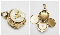 Mother of Pearl Locket Pendant - Four photos - gold eagle bird - Pendant charm