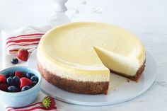 Our ultimate cheesecake is so divine on its own that we skipped the topping! Time for dessert! Photo by James Tse.