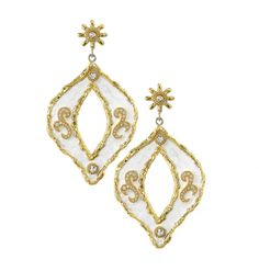 Victor Velyan: 24K Gold and Silver  Earrings in White Patina  Diamonds