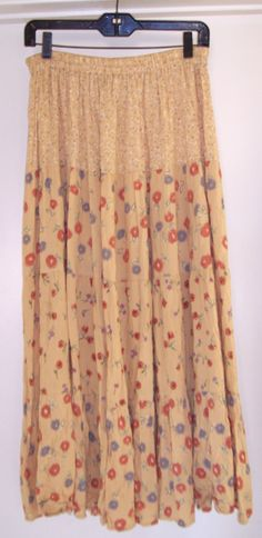 VTG Oxford Tiered Floral CALICO Hippy Granny Skirt Flowy Rayon Gypsy Peasant M L, $29