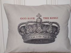 shabby chic feed sack french country God Save the King pillow sham by www.kreativbyerika.etsy.com, $25.00