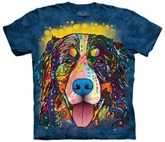 The Mountain T-Shirt with Russo Bernese Mountain Dog design by Dean Russo. This heavyweight 100% Cotton T-Shirt will last you for years and features an over-sized relaxed fit, with reinforced double-s