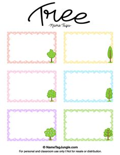 Free printable tree name tags. The template can also be used for creating items like labels and place cards. Download the PDF at http://nametagjungle.com/name-tag/tree/