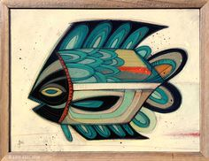 """Fish Outta Water #44"" © Erik Abel 2014<br>16""x12"" Acrylic, marker, colored pencil on wood<br>Frame: Reclaimed Redwood"