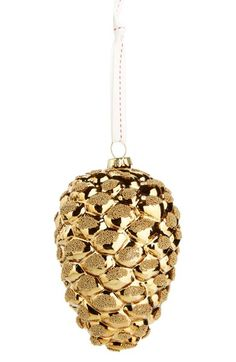 """A golden pinecone ornament made from glass makes a lovely addition to your holiday dècor. 5"""" height. Glass. Z"""