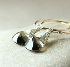 Smokey    Quartz  Earrings    Mixed Metal Jewelry       by Hildes, $42.00