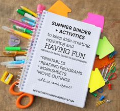 Printable Summer Binder- create a binder full of fun for your kids this summer! Beat the boredom blues.  Includes ideas for activities. www....