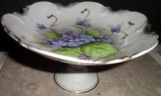 Vintage Ceramic Pedestal Candy Bowl Dish Hand Painted Sweet Violet Norcrest B174