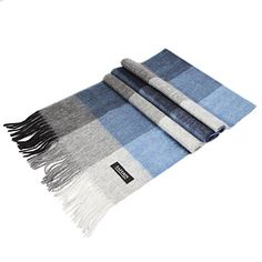 Saferin Women Men Cashmere  Lambwool Luxury Plaid Soft  Warm Scarf With Gift Box Blue and Grey >>> See this great product.