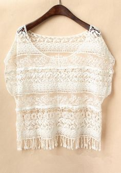 White Short Sleeve Crochet Lace T-shirt US$25.50