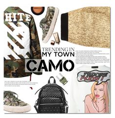 """Camo Style"" by bibibaubau ❤ liked on Polyvore featuring Off-White, Philipp Plein, Superga, Arche, Marc by Marc Jacobs, Nails Inc., Dermablend and Nude by Nature"