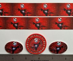 2 Yds The Nightmare Before Christmas Inspired Grosgrain Ribbon and 3 Resin