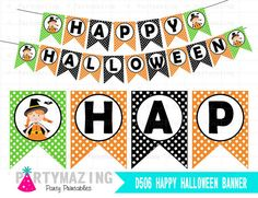 Halloween Banner Cute Witch Printable Happy by Partymazing on Etsy