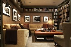 The use of overhead space that would otherwise be blank, is the perfect addition for a home library.