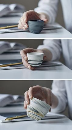 These modern glossy espresso cups are white grey black and cream colored. #PotteryPainting