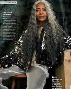 Meet FENTY Campaign Model JoAni Johnson JoAni Johson is dispelling the myth of high fashion models needing to be young and supple to get booked. Gorgeous Hair, Black Is Beautiful, Beautiful People, Grey Hair Inspiration, Curly Hair Styles, Natural Hair Styles, Ageless Beauty, Afro Hairstyles, Scene Hairstyles