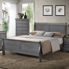 Paint my old green furniture gray for guest room,   Wildon Home ® Louis Phillip Queen Sleigh Bed