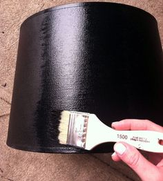 Tips for painting a fabric lampshade from Little Green Notebook blog