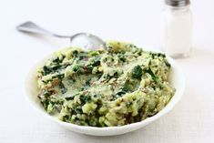 Spinach mashed potatoes- made with greek yogurt! You won't even miss the butter
