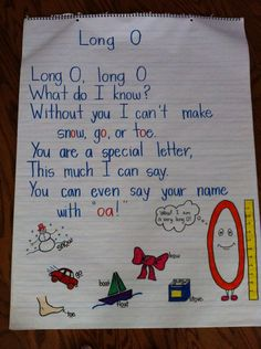 long O poem. May have my kids create poems in small groups for weekly spelling patterns!