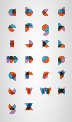 Minimal Type Design by Philippe Cossette Very modern, simple, creative; created varieties, using only one half circle shape and three colors.
