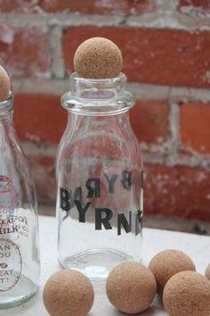 Unique cork top for bottles.