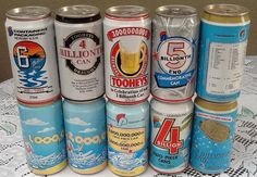10 VERY OLD PACKAGING BILLIONTH BEER CANS