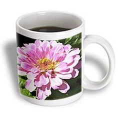 ($14.99) Pretty Pink Zinnia in Summer- Flowers- Floral Photography - 15oz Mug From 3dRose LLC