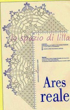 Schemi di bordi crochet con angoli, utili per copertine e tovagliette / Crochet edges with corner useful for baby blankets and placemats, free patterns Crochet Border Patterns, Crochet Collar Pattern, Crochet Boarders, Crochet Lace Edging, Crochet Diagram, Crochet Chart, Crochet Trim, Filet Crochet, Irish Crochet