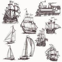 Hand drawn boats collection Art Print by igorG - X-Small Cool Art Drawings, Art Drawings Sketches, Tattoo Drawings, Pencil Drawings, Drawing Ideas, Segel Tattoo, Pirate Ship Drawing, Sailboat Drawing, Boat Sketch