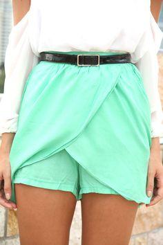 mint green wrap shorts