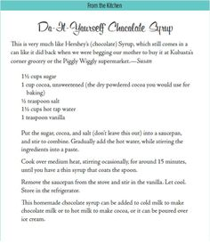 Do-It Yourself Chocolate Syrup #food #Wisconsin #foodie
