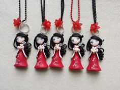 Japanese fimo Necklace, polymer clay
