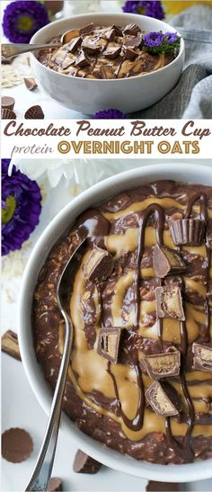 Chocolate Peanut Butter Cup Protein Overnight Oats - a perfect meal prep breakfast that's packed with protein and heart-healthy fiber!