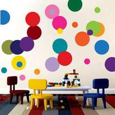 Colorful Dots Wall Mural Decal- Decorate your home or nursery with the Colorful Dots Mural Decal.SHEET SIZES: (Each pack includes 18 large dots and 10 small dots in the colors shown) 22 includes 1 and 3 dots 36 includes 2 and 6 dots 44 include