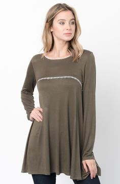 Olive Lace Trim Tunic  http://www.caralase.com/lace-trim-tunic/  Long sleeve jersey top with a lace trim by Caralase. Cut in a relaxed + swingy silhouette, finished with a plenty long hem and lace trimming.  #Lacetrimtunic #trimtunic #lacetunic #tunics #tunicsforwomen #longsleevejerseytop #jerseytop #tops #longsleeve #burgundy #black #charcoal #olive #navyblue #navy #cool #caralase #fashion #newarrivals #cute #best #latest #womens #ladies #girls #ootd #trendy #lifestyle #cheap