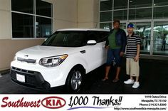 https://flic.kr/p/J8hwtr | Happy Anniversary to Robinshail on your #Kia #Soul from Ash Chowdhury at Southwest Kia Mesquite! | deliverymaxx.com/DealerReviews.aspx?DealerCode=VNDX