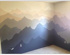 Mountain mural in kids room
