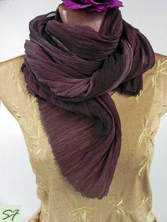 Dark Burgundy Silk Scarf, Chiffon Crinkled Scarf, Wrap, Soft Pleated, Hand dyed…