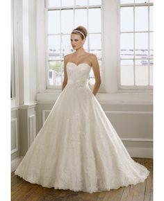 Lace Princess Flower Sweetheart Wedding Dress #Wedding #Dresses