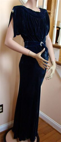 1930's DECO Bias Cut Sapphire Blue Silk Velvet Gown - with Rhinestone clips on each sleeve - Rhinestone Belt