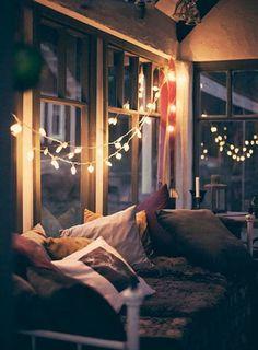 This looks so cozy. Yep definitely going crazy with rope lights @Julia Brokaw @nikki striefler striefler Horner @Christine Ballisty Ballisty Reed @Maddie Fielden
