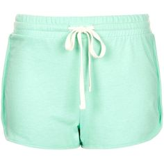 TOPSHOP Side Panel Runner Short ($10) ❤ liked on Polyvore featuring shorts, topshop, pants, mint, drawstring shorts, cotton drawstring shorts, topshop shorts, mint green shorts and short shorts