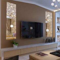 These days TVs are often found on walls, but when it comes to deciding how you want to create the perfect TV wall, it can be challenging to. Wall Unit Designs, Living Room Tv Unit Designs, Tv Wall Design, House Design, Condo Decorating, Small Apartment Decorating, Living Room Decor Cozy, Home Living Room, Modern Home Interior Design