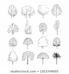 Side view, set of graphics trees elements outline symbol for architecture and landscape design drawing. Vector illustration royalty-free side view set of graphics trees elements outline symbol for architecture and landscape design drawing vector illustrat Landscape Architecture Drawing, Architecture Sketches, Landscape Drawings, Landscape Designs, Architecture Graphics, Architecture Symbols, Minimal Architecture, Architecture Images, Classical Architecture